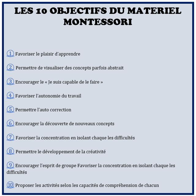 Pourquoi utiliser le matériel Montessori ? Quels avantages matériel Montessori ? Les 10 objectifs du matériel Montessori