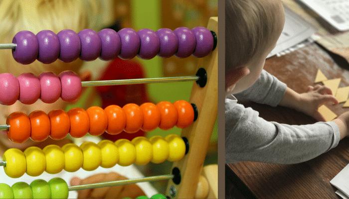 abacus, boulier, tangram, puzzle, activités montessori, géométrie, motricité, notions mathématiques, montessori