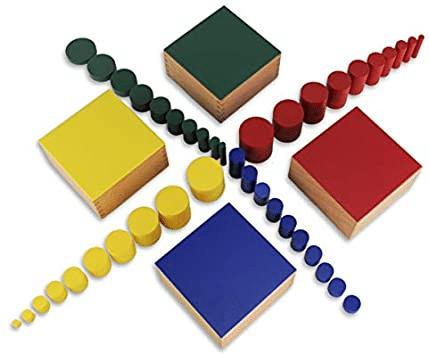 montessori, discrimination visuelle, différentes tailles, cylindres taille poids, cylindre couleur
