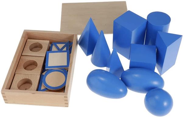 formes géométriques, forme montessori, formes 3D, montessori 3D, montessori solides, stereognostie, jeu géométrie, jeu bois géométrie