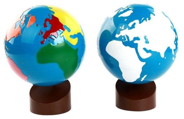 globe montessori, globe terreste, globe du monde, globe avec continent