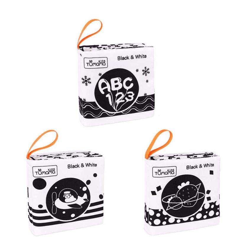 Livre noir et blanc, livre Montessori, livre bicolore, livre souple, livre lavable, livre en tissus, black & white