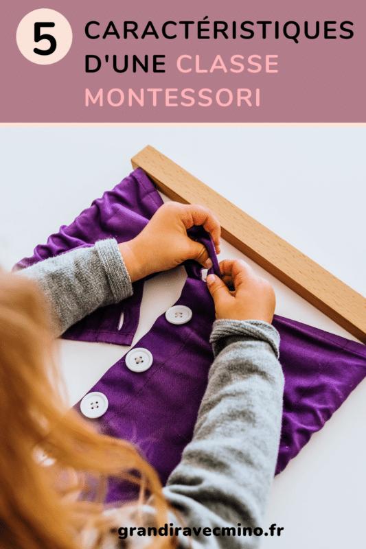 caractéristiques classe montessori